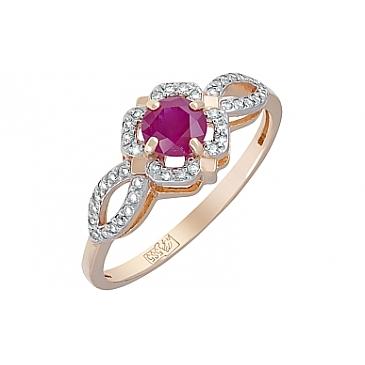 Кольцо с бриллиантом и рубином из красного золота 119427