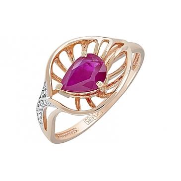 Кольцо с бриллиантом и рубином из красного золота 121223
