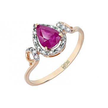 Кольцо с бриллиантом и рубином из красного золота 116592