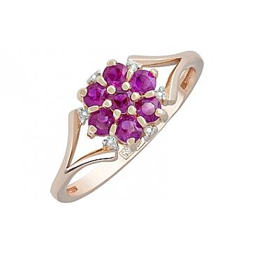 Кольцо с бриллиантом и рубином из красного золота 119107