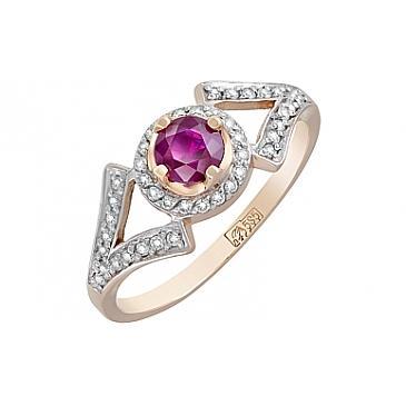 Кольцо с бриллиантом и рубином из красного золота 119125