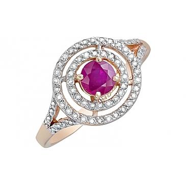 Кольцо с бриллиантом и рубином из красного золота 119139