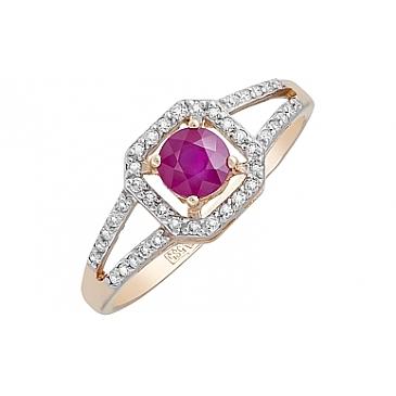 Кольцо с бриллиантом и рубином из красного золота 120113