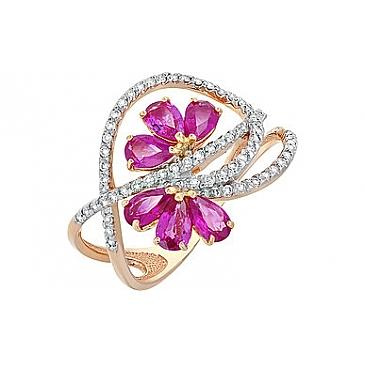 Кольцо с бриллиантом и рубином из красного золота 108049