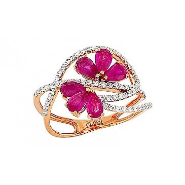 Кольцо с бриллиантом и рубином из красного золота 84624