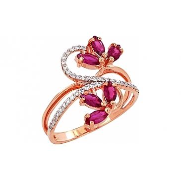 Кольцо с бриллиантом и рубином из красного золота 95740