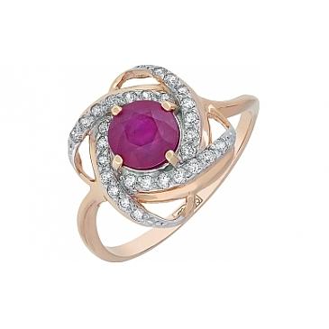 Кольцо с рубином и фианитом из красного золота 115800