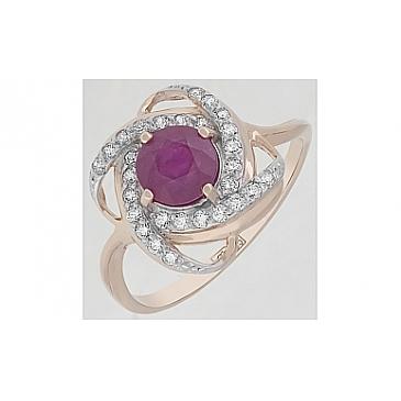 Кольцо с рубином и фианитом из красного золота 116658