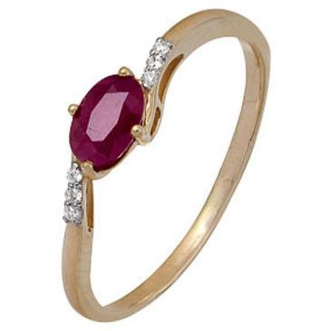 тонкое кольцо c рубином и бриллиантами из красного золота 1920202280