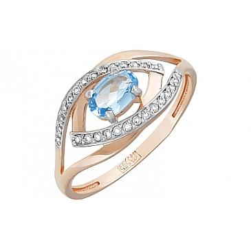 Кольцо с топазом и фианитом из красного золота 119919 от EVORA