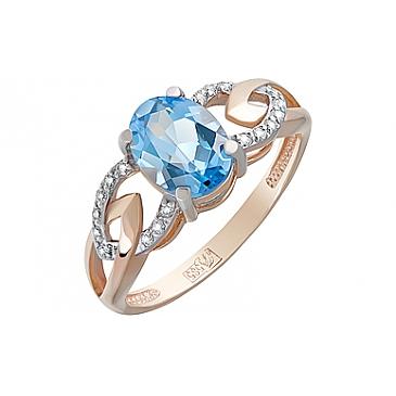 Кольцо с топазом и фианитом из красного золота 124099 от EVORA