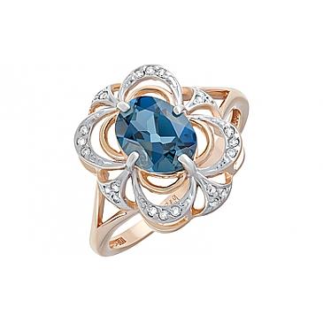 Кольцо с топазом и фианитом из красного золота 124599