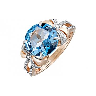 Кольцо с топазом и фианитом из красного золота 126996 от EVORA