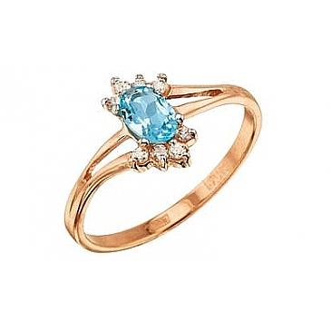 Кольцо с топазом и фианитом из красного золота 7657 от EVORA