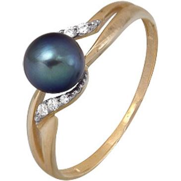 кольцо c черным жемчугом и фианитами из красного золота 1880202313-1