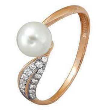 кольцо c фианитами из красного золота 11624176
