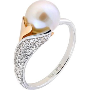 кольцо c жемчугом и бриллиантами из красного золота 12634550