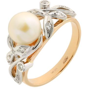 кольцо c жемчугом и бриллиантами из красного золота 12633191