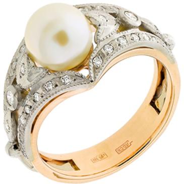 кольцо c жемчугом и бриллиантами из красного золота 12633193