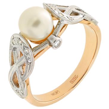 кольцо c жемчугом и бриллиантами из красного золота 12633790