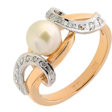 кольцо c жемчугом и бриллиантами из красного золота 12633797
