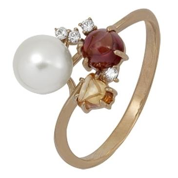 кольцо c жемчугом из красного золота 1880001926