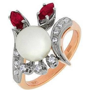 кольцо c жемчугом из красного золота 12661948