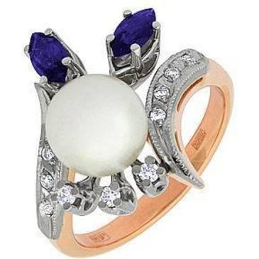кольцо c жемчугом из красного золота 12671948