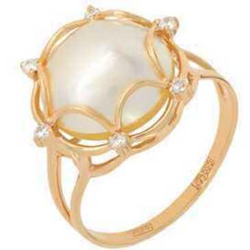 кольцо c жемчугом из красного золота 11627479