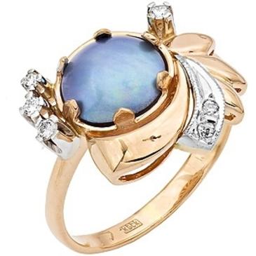кольцо c жемчугом из красного золота 12631557