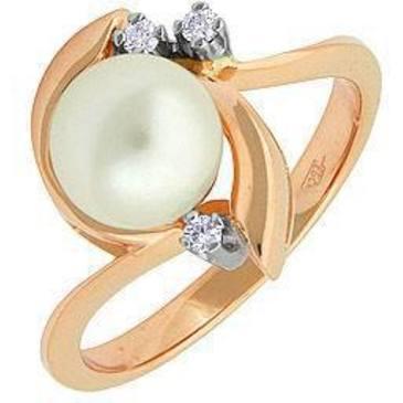 кольцо c жемчугом из красного золота 12632237
