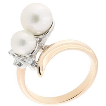 кольцо c жемчугом из красного золота 12633786