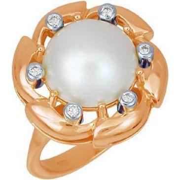 кольцо c жемчугом из красного золота 1263993