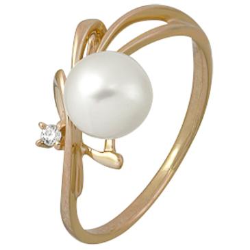 кольцо c жемчугом из красного золота 1880002190
