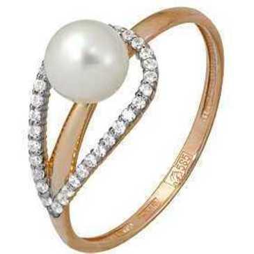 кольцо c жемчугом из красного золота 11624175