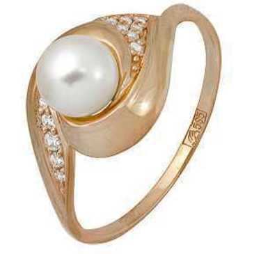 кольцо c жемчугом из красного золота 11624194
