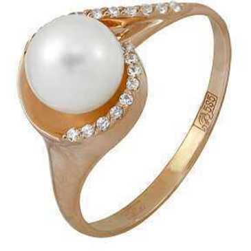 кольцо c жемчугом из красного золота 11624346