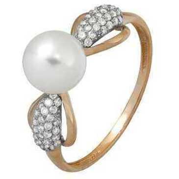 кольцо c жемчугом из красного золота 11634337