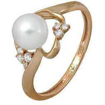 кольцо c жемчугом из красного золота 11624348