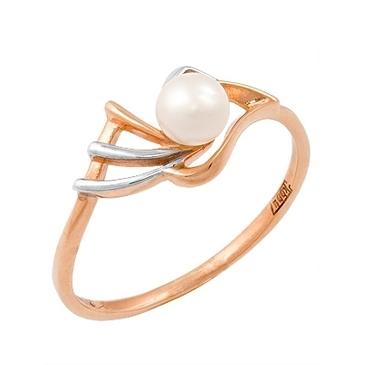 кольцо c жемчугом из красного золота 11607223