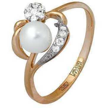 кольцо c жемчугом из красного золота 11624350