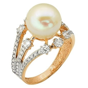 кольцо c жемчугом из красного золота 11627103