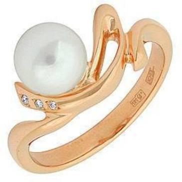 кольцо c жемчугом из красного золота 11632232