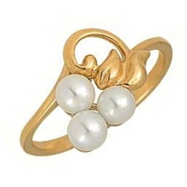 кольцо c жемчугом из красного золота 1240001043