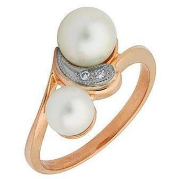 кольцо c жемчугом из красного золота 12631988