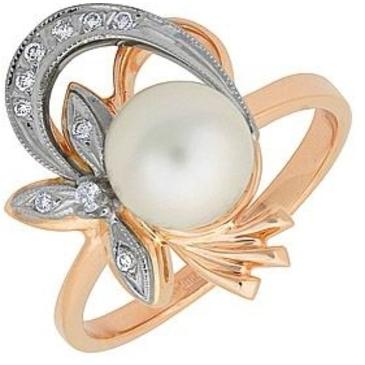 кольцо c жемчугом из красного золота 12632081
