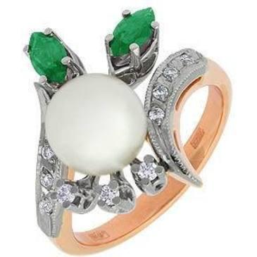 кольцо c жемчугом из красного золота 12641948