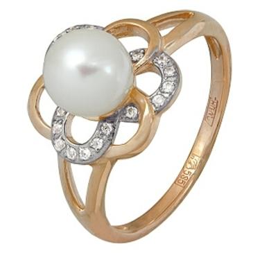 кольцо c жемчугом из красного золота 11624395