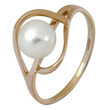 кольцо c жемчугом из красного золота 11604406