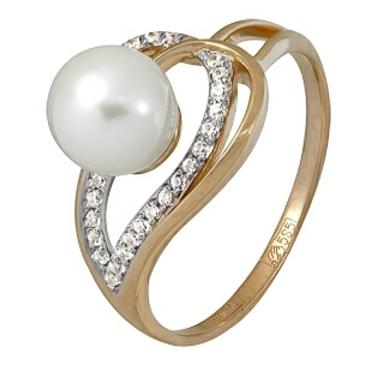кольцо c жемчугом из красного золота 11624390